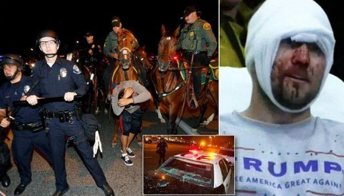 protesters attack trump supporters